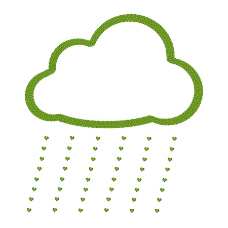 Ecology Concept, Fresh Green Four Leaf Clover Forming Cloud Icon with Love Rain Isolated on White Background   Stock Photo - 17155768