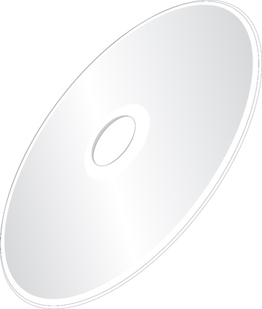 blueray: A Shiny Silver Blank CD or DVD Compact Disc on White Background