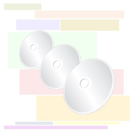 rewrite: Three Shiny Silver Blank CD or DVD Compact Disc on Colorful Background Pattern Illustration