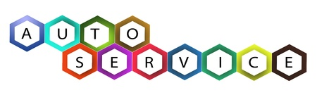 auto repair shop: AUTO SERVICE Label Created by Colorful Hexagon Pattern