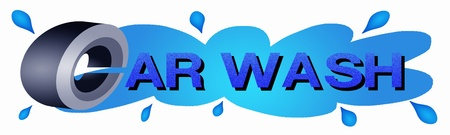 wash painting: A Tire and Blue Color of Word Car Wash on Water Drop Background