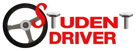 A Red Car Sticker with The Steering Wheel and Text  STUDENT DRIVER  for Driver Education or New Driver photo