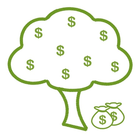 Ecology Concept, Fresh Green Four Leaf Clover Forming A Big Tree with Dollar Symbol and A Money Bag photo
