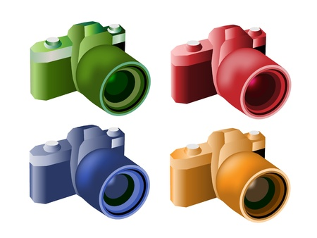 wide angle: Green, Blue, Orange and Red Color of Camera with A Wide Angle Lens Illustration