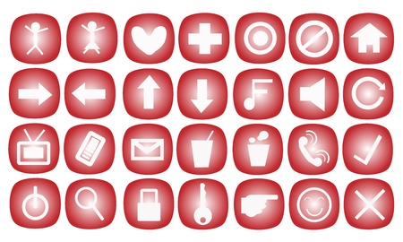 Web and Communication Icons Set in A Red Color Vector