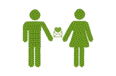 heart suite: Love Concept, Fresh Green Four Leaf Clover Forming Male and Female Icon or Gender Sign Hoding An Envelope of Love Letter Together Stock Photo