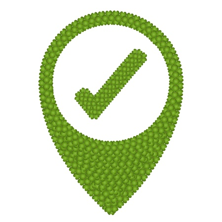 reference point: Ecology Concept, Fresh Green Four Leaf Clover Forming Map Pin Icon or Straight Pin and Check Mark Icon, Isolated on White Background