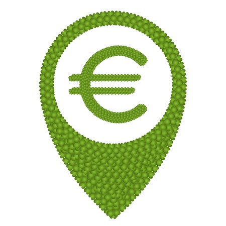 Ecology Concept, Fresh Green Four Leaf Clover Forming Map Pin Icon or Straight Pin and Euro Symbol, Isolated on White Background photo