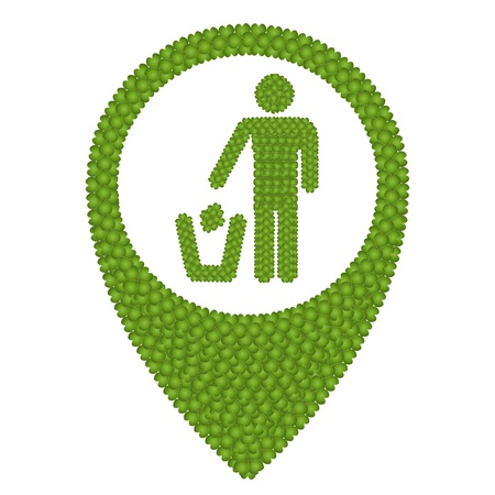 Ecology Concept, Fresh Green Four Leaf Clover Forming Map Pin Icon or Straight Pin and A Man Throwing Garbage into A Trash Can, Isolated on White Background photo