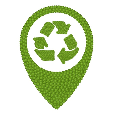 reference point: Ecology Concept, Fresh Green Four Leaf Clover Forming Map Pin Icon or Straight Pin and Recycling Sign, Isolated on White Background Stock Photo