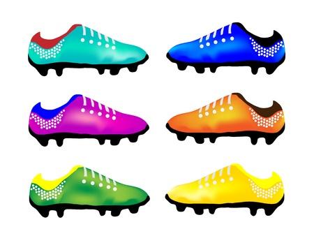 Bleu clair, violet, vert, bleu, couleur orange et jaune de chaussures � crampons ou chaussures de soccer Illustration