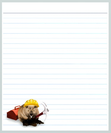 pick axe: Hand Drawing of Worker Beaver Holding A Pick Axe on A Blank Gey Lined Paper Background with Copy Space for Text Decorated