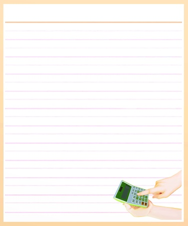 Hand Drawing of A Finger Pressing Key for Counting on Calculator in A Blank Brown Lined Paper Background with Copy Space for Text Decorated  Stock Photo - 17417522
