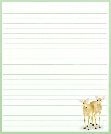 Hand Drawing of Two Beautiful Deers on A Blank Green Lined Paper Background with Copy Space for Text Decorated  Stock Photo - 17417532