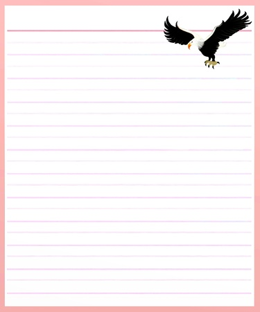 decorate notebook: Hand Drawing of Two Beautiful Eagle on A Blank Pink Lined Paper Background with Copy Space for Text Decorated