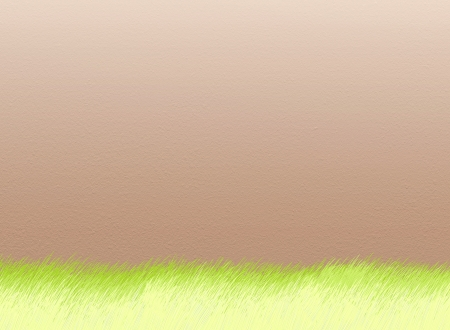 Hand Drawing of Bueatyful Outdoor Green Field on Brown Wall Background, Take for Postcard or Note Paper photo