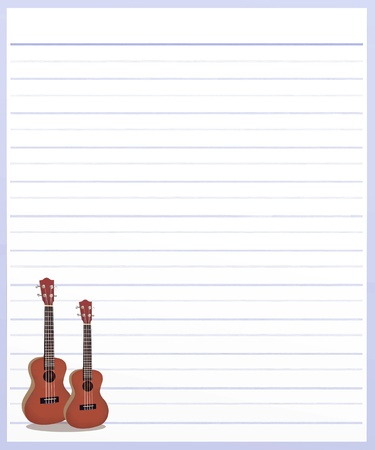 Hand Drawing of Two Beautiful Classical Guitar on A Blank Purple Lined Paper Background with Copy Space for Text Decorated Stock Photo - 17417529