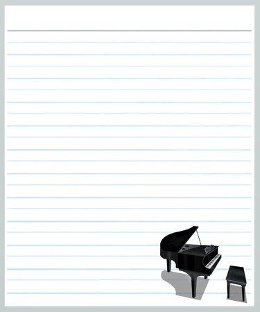 Hand Drawing of A Beautiful Grand Piano on A Blank Grey Lined Paper Background with Copy Space for Text Decorated Stock Photo - 17417534