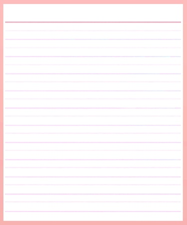 A Sheet of Blank Pink Lined on White Paper Background with Copy Space for Text Decorated  photo