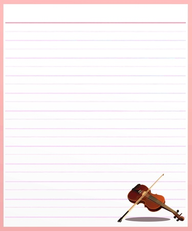 Hand Drawing of A Beautiful Violin on A Blank Pink Lined Paper Background with Copy Space for Text Decorated Stock Photo - 17417528