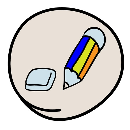 Office Supply, A Cartoon Illustration of Pencil and Eraser Icon in Grey Circle Frame Stock Vector - 17417581