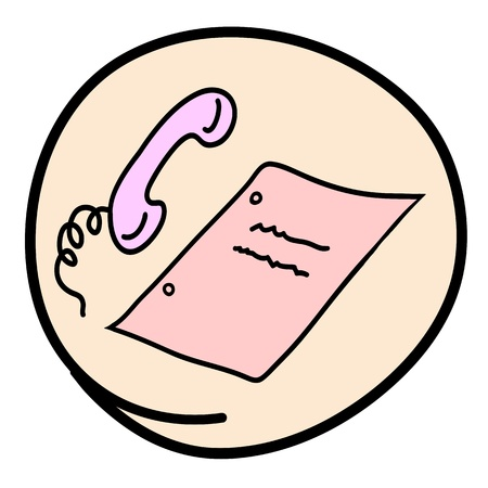 telephone cartoon: Office Supply, A Cartoon Illustration of Office Telephone and Blank Paper Icon in Pink Circle Frame Illustration