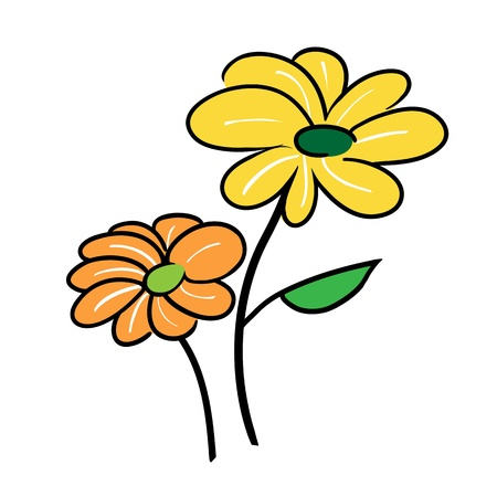 Love Concepts, An Illustration of Two Yellow and Orange Flower Icon Isolated on A White Background Stock Vector - 17417618