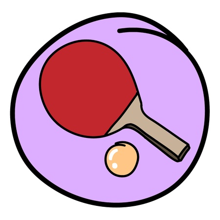 Sports Equipment, A Cartoon Illustration of A Table Tennis Bat or   Paddle with A Ball in Purple Circle Frame Stock Vector - 17544257