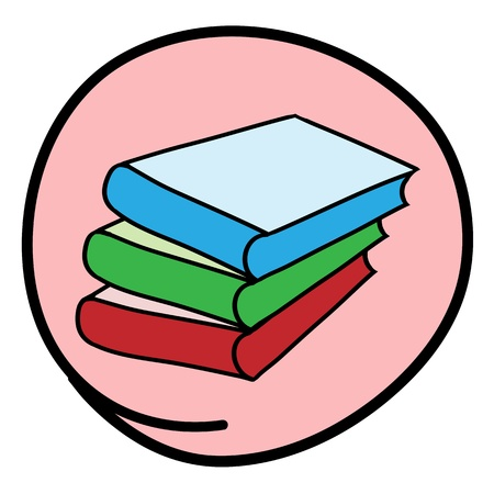 School Supplies, A Cartoon Illustration of A Stack of Colorful Books Icon in Pink Circle Frame Stock Vector - 17544198