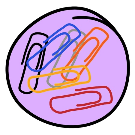 Office Supplies, A Cartoon Illustration of Colorful Paper Clips Icon in Beown Circle Frame Stock Vector - 17544235