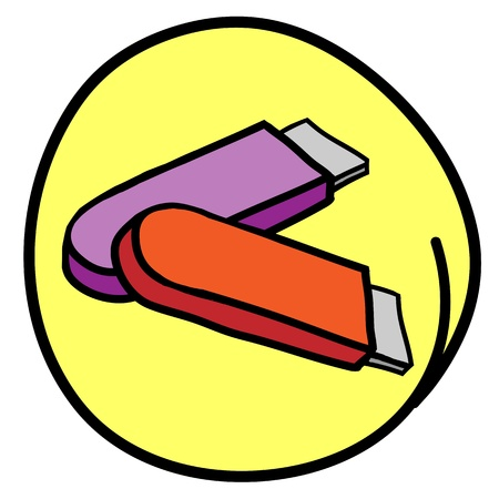flash drive: Office Supply, A Cartoon Illustration of Orange and Purple Colors Flash Drive or Thumb Drive in Yellow Circle Frame Illustration