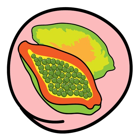 Fresh Fruits, A Cartoon Illustration of A Fresh Ripe Papaya and Slices Papaya in Pink Circle Frame Vector