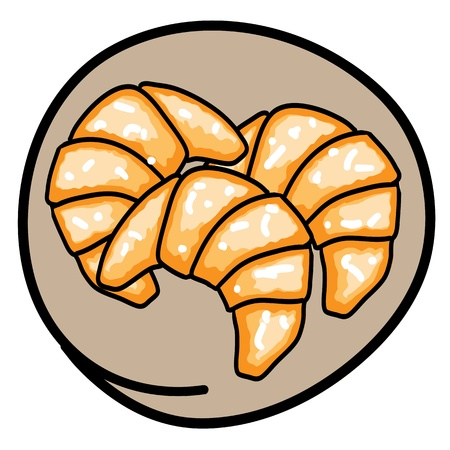 Food and Bakery, A Cartoon Illustration of Three Fresh Croissants Icon in Brown Circle Frame Vector