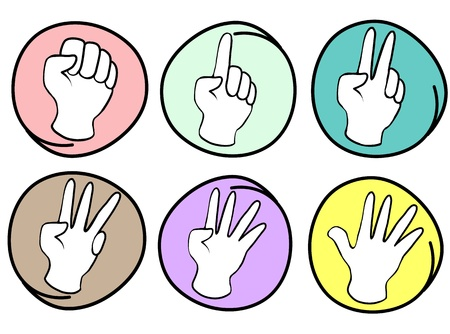 reaches: Hand Sign, Cartoon Illustration of A Collection of Hands Counting Zero to Five in Circle Frame