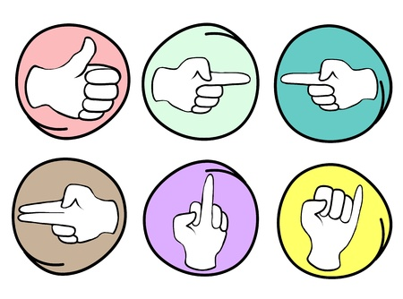 reaches: Hand Sign, Cartoon Illustration of A Collection of Hands Showing Various Gestures in Circle Frame Illustration