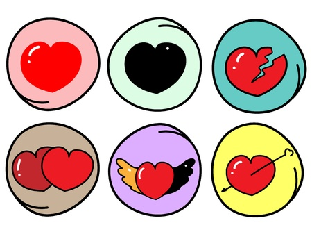 Love Concepts, An Illustration Set of Red and Black Heart Icons   Symbols with Different Variations in Circle Frame Vector