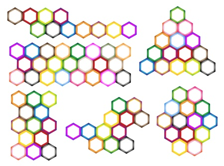 The Colorful Variations Hexagon Pattern with Copy Space for Add Content or Picture Vector