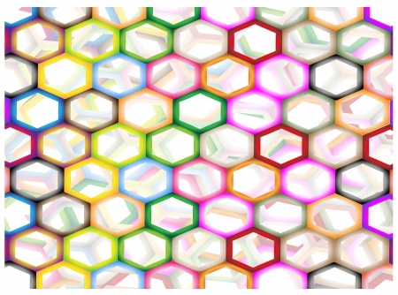 The Colorful Variations Hexagon Background with Copy Space for Add Content or Picture Vector