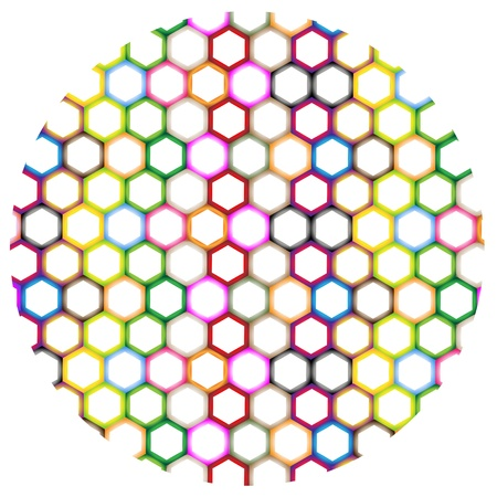 The Colorful Variations Hexagon Round Background with Copy Space for Add Content or Picture Vector