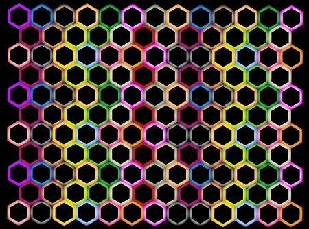 The Colorful Variations Hexagon on Black Background with Copy Space for Add Content or Picture Vector