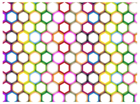 The Colorful Variations Hexagon on White Background with Copy Space for Add Content or Picture Vector