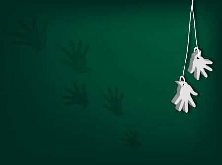 surrender: An Illustration of White Artificial Open Hand for Surrender Hand Signal or Retirement Hanging from Cord on Dark Green Background