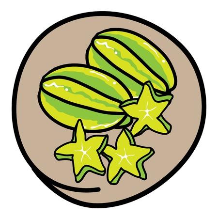 Fresh Fruits, A Cartoon Illustration of Fresh Ripe Carambolas and Carambolas Cross Section in Green Circle Frame Vector