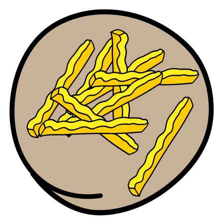 Fast Food, A Cartoon Illustration of A Golden Pile of French Fries Icon in Brown Circle Frame Stock Vector - 17544201