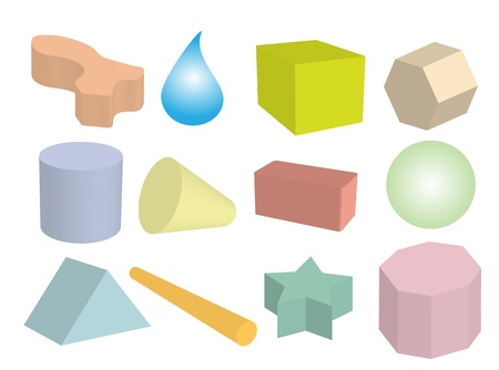 Geometric Shape, An Objects or Figures Create into A Sphere, Triangle, Hexagon, Cylinder, Cone, Drop and Cube Stock Photo - 17544240