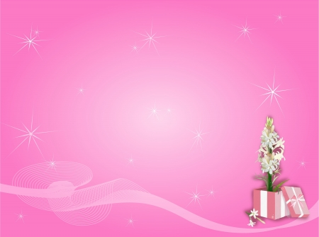 A Beautiful Tuberose Flower in Gift Box with Sparking Light Stars on An Elegant Pink Color Background  Stock Photo - 17544242