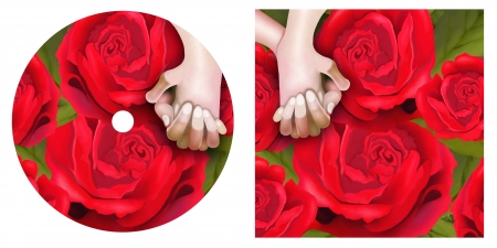 Hand Drawing, Elegant Template of A Lover Hoding Hand on Beautiful Red Roses CD and DVD Cover in Pink Color Background Stock Photo - 17544247