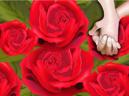 Hand Drawing, Elegant Template of A Lover Hoding Hand on Beautiful Red Roses Background Stock Photo - 17544248