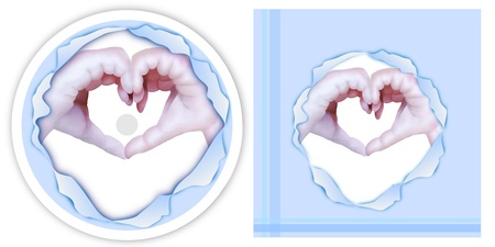 Elegant Template of A Lover Showing Body Languages for Love Signals by Hand Heart in Blue Torn Paper on CD and DVD Cover Stock Photo - 17544243