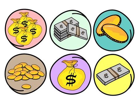 A Cartoon Collection of Money and Gold Icon, Money Bag, Banknotes and Golden Coins in Circle Frame Stock Vector - 17639424